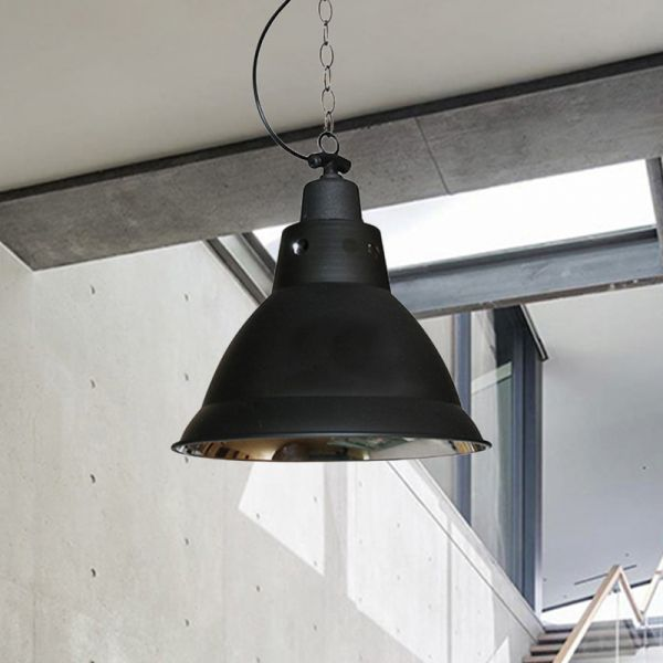 12 Wide Black Cone Pendant Lamp Industrial Metallic Single Stairway Ceiling Light Pendant Lighting