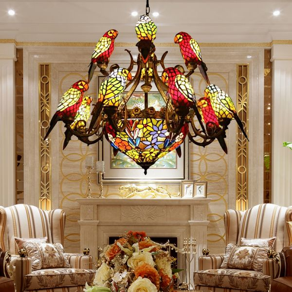 13 Lights Pendant Chandelier Victorian Parrot Hand Cut Glass Ceiling Lamp In Antique Bronze For Living Room 110v 120v Antique Bronze Chandeliers