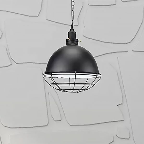 Red White Black Dome Pendant Light Kit Industrial Metal 1 Head Ceiling Light With Wire Guard Pendant Lighting