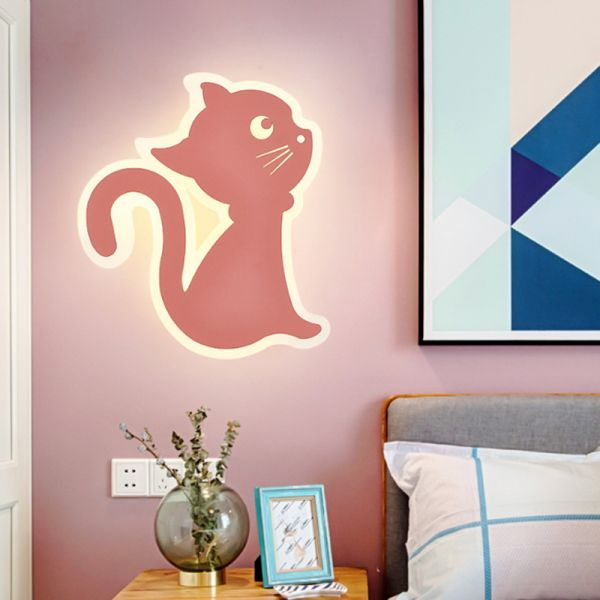 Led Nursery Wall Sconce Lamp Kids Yellow Wall Light Fixture With Cat Acrylic Shade Left Sconces
