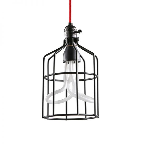 1 Bulb Iron Suspension Pendant Warehouse Black Red Open Wire Caged Living Room Hanging Light Fixture Pendant Lighting