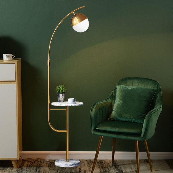 1 Head Drawing Room Floor Lamp Modern Style Gold Floor Table Light With Globe Metallic Shade 110v 120v Gold Floor Lamps