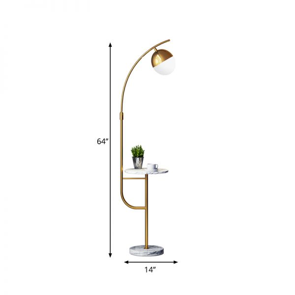 1 Head Drawing Room Floor Lamp Modern Style Gold Floor Table Light With Globe Metallic Shade Floor Lamps