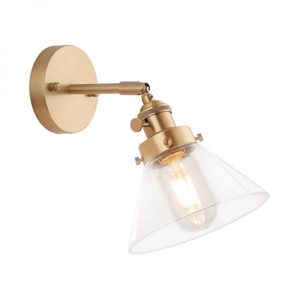 1 Bulb Tapered Wall Sconce Light Vintage Brass Metal Wall Mounted Lighting For Living Room A Flush Mount Wall Lights